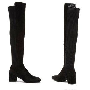 Kenneth Cole Suede Stretch Knee Boots Sz 8.5